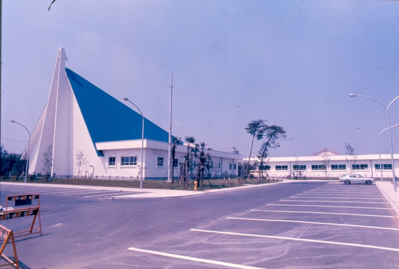 An August 1975 view of Yokota's main base chapel soon after completion.