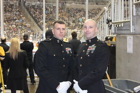 Chief Warrant Office 3 Jeremiah Elsbury (right) and Chief Warrant Officer 2 Tony Irene (left)were selected to ride the Zamboni during a Pittsburgh Penguins home game on Jan. 31 at the Console Center. The Pittsburgh Penguins and ATI, through their Military Appreciation Program, recognized Elsbury and Irene by giving them an opportunity to ride on one of the ATI Zambonis and receive a warm welcome on the scoreboard. The Zamboni rides are done during the intermission of each period of the hockey games(Courtesy Photo).
