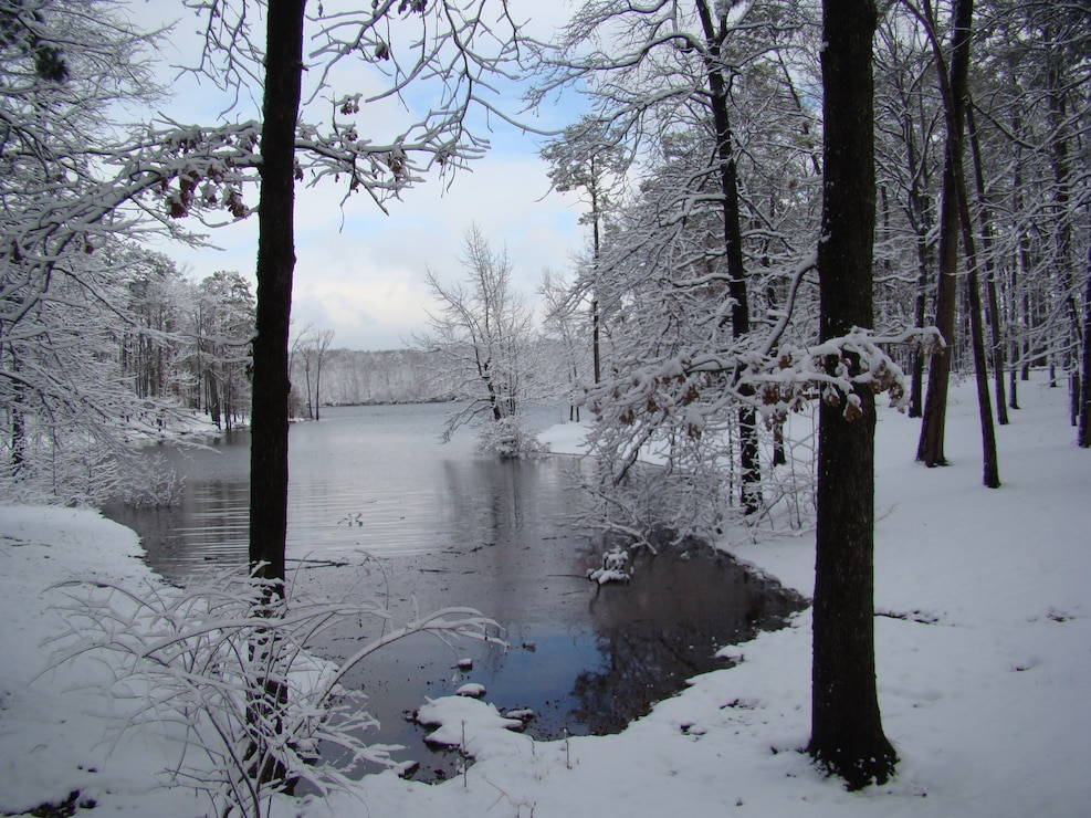 "Picture taken several years back of 6"" snow at Tompkins Bend, Lake Ouachita"