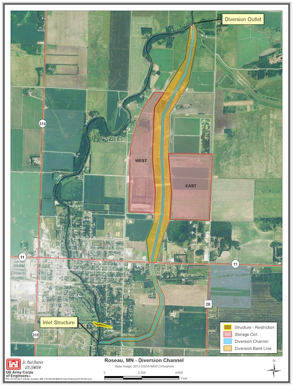 Map of the Roseau, Minnesota, flood risk management project.