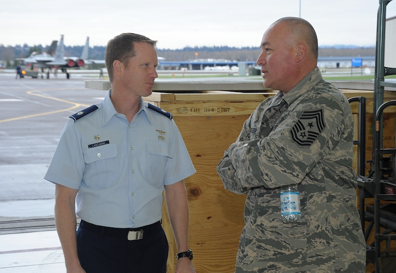 Lt. Col. Christopher Lantagne, 142nd Fighter Wing Aircraft Maintenance Squadron commander, left, talks with Chief Master Sgt. Mitchell O. Brush, Senior Enlisted Advisor for the National Guard Bureau, right, during his tour of the Portland Air National Guard Base, Ore., Jan. 5, 2015. Chief Brush took time to meet Airmen in various areas of the air base to get a better understanding of their roles as members of the Air National Guard. (U.S. Air National Guard photo by Tech. Sgt. John Hughel, 142nd Fighter Wing Public Affairs/Released)