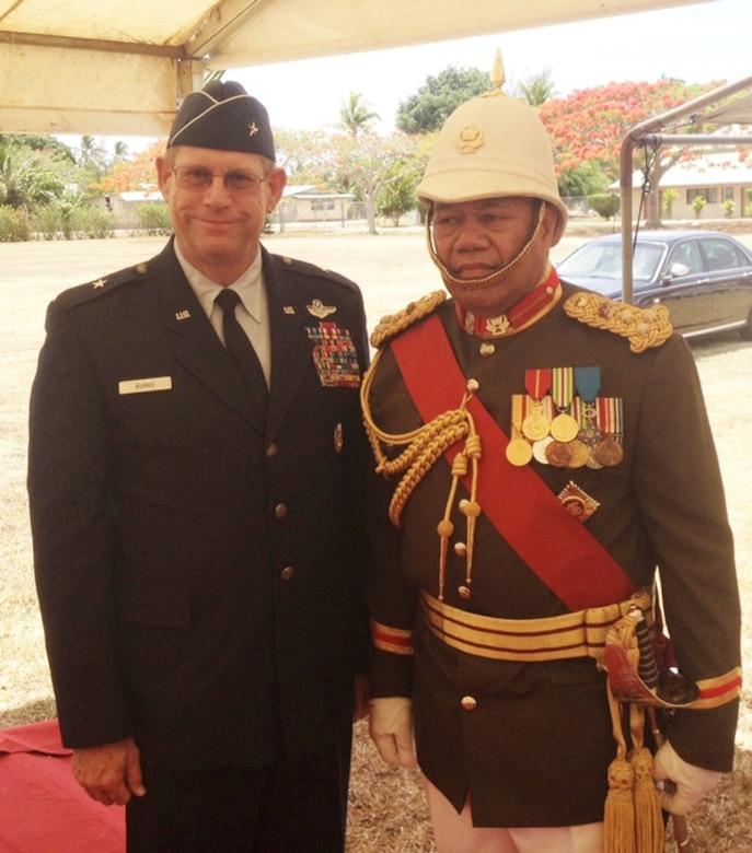 Nevada Adjutant General Brig. Gen. Bill Burks, left, meets with Tongan Brig. Gen. Tau'aika 'Uta'atu in Tonga on Dec. 18 before a farewell military parade that marked 'Uta'atu's more than four decades of military service.