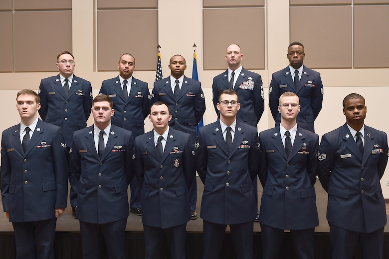 Eleven Team Buckley members were promoted to their next ranks Jan. 5, 2015, at the Leadership Development Center on Buckley Air Force Base, Colo. These Airmen were honored by their co-workers, families and friends during the ceremony. (U.S. Air Force photo by Airman 1st Class Luke W. Nowakowski/Released)