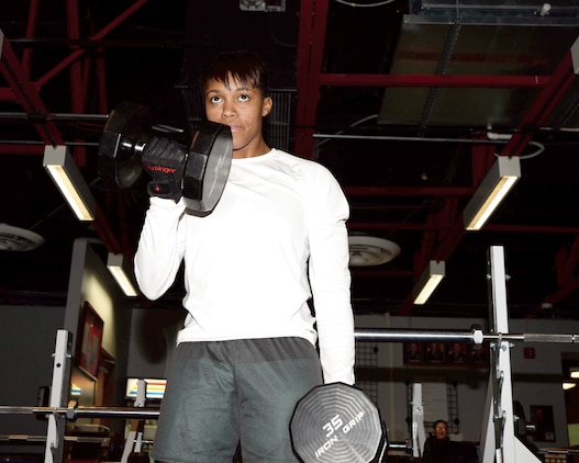 Sgt. Candice Clark-Thomas works out at Daniels Fitness Center at Marine Corps Logistics Base Albany, recently.