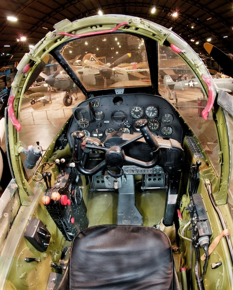 Pilot's view of the cockpit of a Lockheed P-38L Lightning, a view that grew familiar to pilot trainees in the 432nd Army Air Force Base Unit (Combat Crew Training Station-Fighter) during their training on the P-38 at Portland, Redmond and Madras, Oregon, during World War II.  This aircraft is at the National Museum of the USAF at Wright Patterson AFB, Ohio. (National Museum of the Air Force)