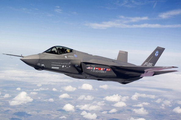 An F-35A Lightning II test aircraft AA-1 undergoes flight testing over Fort Worth, Texas. Royal Air Force Lakenheath, U.K., was selected as the first U.S. Air Forces in Europe base to host the F-35A. (Courtesy photo/Liz Kaszynski)