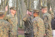 Taken during the oath administered to the MSG's for the reenlistment ceremony