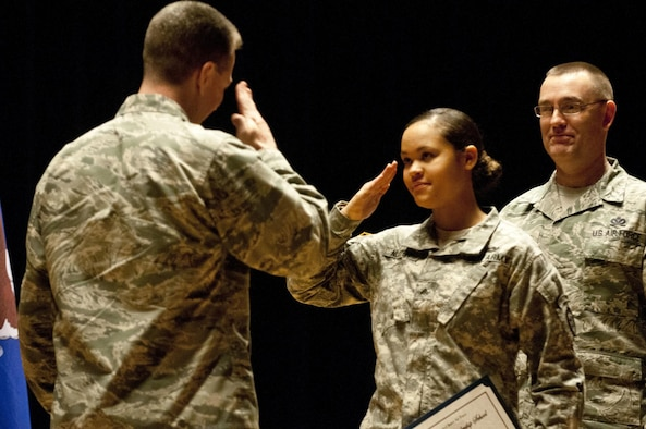 U.S. Army Cpl. Janay Nutter salutes Col. Brian Bruckbauer, the commander of 673rd Air Base Wing, during the Airman Leadership Course class 15-1 graduation in the post theater Dec. 18, 2014, at Joint Base Elmendorf-Richardson, Alaska. Nutter is a radio retransmission squad leader with 2nd Platoon, C. Company, 6th Brigade Engineer Battalion, 4th Infantry Brigade Combat Team (Airborne), 25th Infantry Division. (U.S. Army photo/Staff Sgt. Daniel Love)