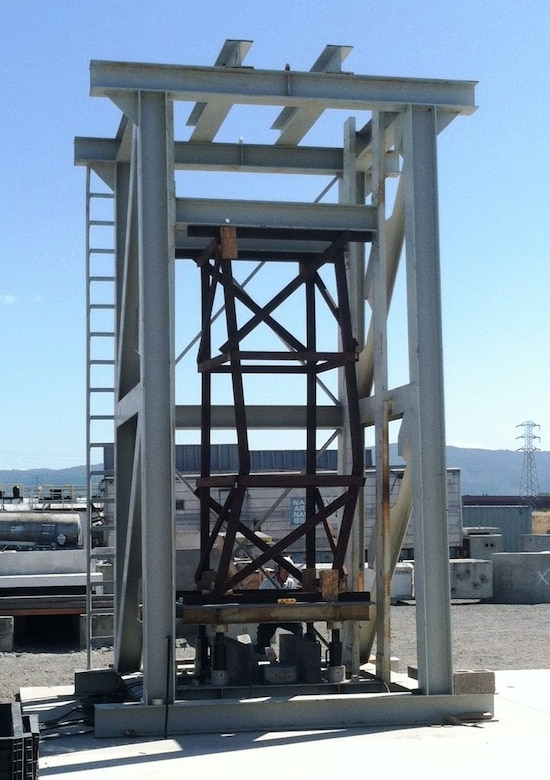 Specialists use this full scale load testing apparatus to test shoring options for use in a building collapse.