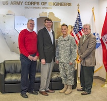 Deputy Assistant Secretary of the Army (IH&P) Mr. Paul Cramer and Mr. Mark Connor (Office of Army General Counsel) visited South Pacific Division to discuss Army Mega-Projects in December, hosted by Brig. General Mark Toy and SES Director of Programs Mr. Joe Calcara.
