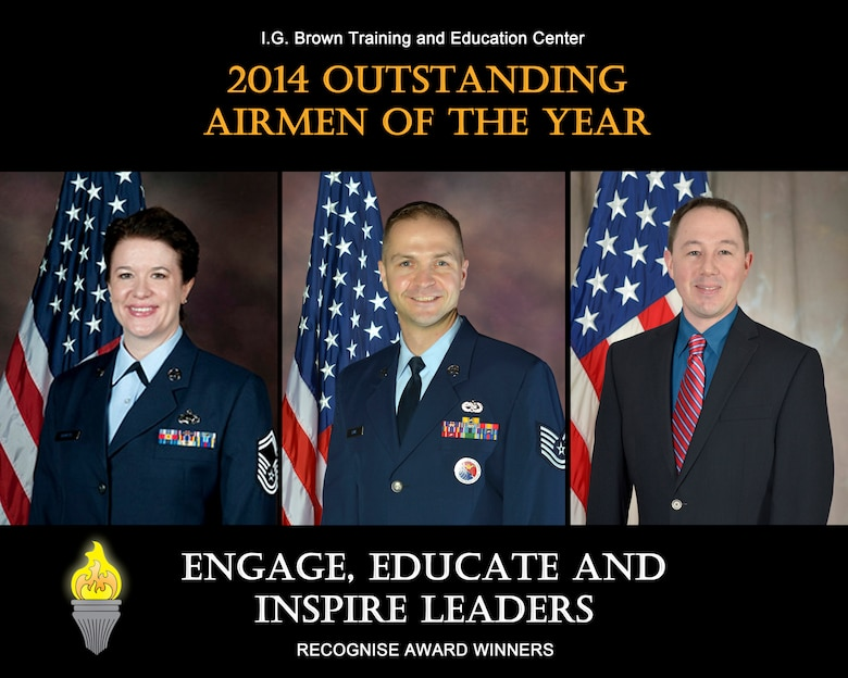 MCGHEE TYSON AIR NATIONAL GUARD BASE, Tenn. - From left, Senior Master Sgt. Kimberly Bowers, Tech. Sgt. James Laws and Mr. Dustin Russell are the I.G. Brown Training and Education Center's 2014 Outstanding Airmen of the Year. (U.S. Air National Guard file photo illustration/Released)