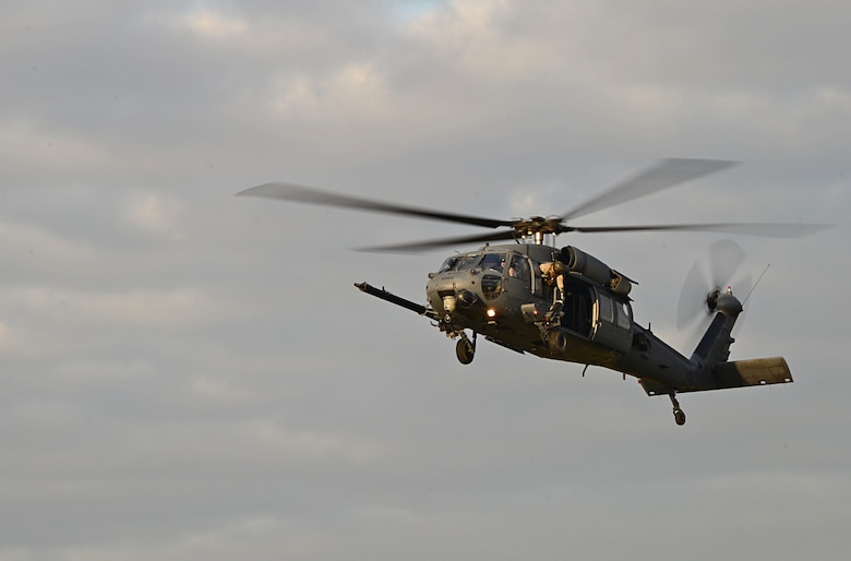 A 56th Rescue Squadron HH-60G Pave Hawk helicopter prepares to land Dec. 30, 2014, at Royal Air Force Lakenheath, England. The primary mission of the HH-60G is to conduct day and night personnel recovery operations and they also fly into hostile environments to recover isolated personnel during war. (U.S. Air Force photo/Senior Airman Erin O'Shea)