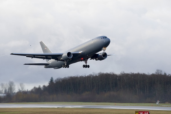 The KC-46A Pegasus development program completed its first flight of Engineering, Manufacturing and Development (EMD) aircraft #1 Dec. 28, 2014. The maiden flight took off from Paine Field in Everett, Washington and landed at Boeing Field, Seattle. (Courtesy photo)