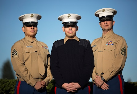 LYNWOOD, Wa. -- Sgt. Ricardo Schebesta (left), Staff Sgt. Bryson Twigg and Staff Sgt. Ben Shoemaker, Marine recruiters in Lynnwood and Everett, Washington, responded to a situation Jan. 6, 2015, in which two young men attempted to rob an elderly woman outside their Lynnwood recruiting office. Despite being told by the victim the suspects were armed with a gun, the Marines ran through rush-hour traffic to pursue them. Shoemaker subdued one of the suspects using a wrist lock, a technique taught in the Marine Corps Martial Arts Program, and held the suspect until police arrived to arrest him. Police retrieved a metal bat from the suspect's pants but have not yet located his accomplice. Schebesta is from Anaheim, California. Shoemaker is from Spokane, Washington. Twigg is from Akron, Ohio. (U.S. Marine Corps photo by Sgt. Reece Lodder)