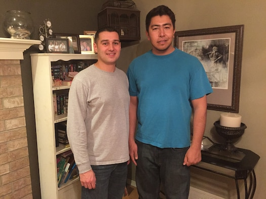 "Master Sgt. Michael Simon  (left) poses with Mohammad Javad or ""MJ,"" a former Afghan interpreter, during the Christmas holiday. Simon worked closely with MJ in Afghanistan while training Afghan Airmen to run an independent and operationally capable Air Force. Simon is an Academy Military Trainer for Cadet Squadron 16. (U.S. Air Force photo)"