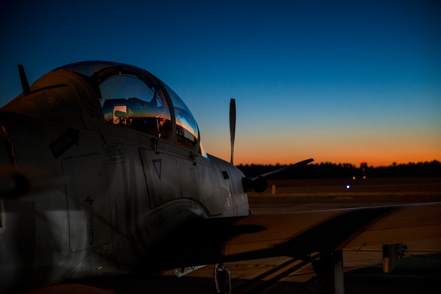 An A-29 Super Tucano sits on the flightline during a preflight inspection Jan. 8, 2015, at Moody Air Force Base, Ga. At the completion of Moody AFB's Afghan pilot and maintenance training mission, the aircraft is set to provide an air-to-ground capability to the Afghan air force. The A-29 is assigned to the 81st Fighter Squadron. (U.S. Air Force photo/Senior Airman Ryan Callaghan)