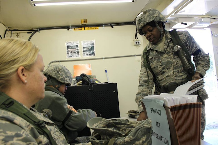 Dobbins Air Reserve Base, Ga. – PERSCO Airmen of the 166th Forces Support Squadron, Delaware Air National Guard, tracked Airmen on Nov. 19 during Force Support Combat Training conducted here Nov. 14-21, 2014. (U.S. Air National Guard photo by Staff Sgt. Brian Ford)
