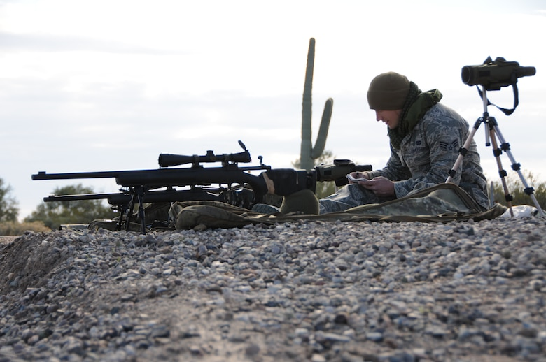 "(From left to right) Senior Airman Kyle Drzewiecki, 161st Security Forces Squadron Advanced Designated Marksmen, hones his newly acquired skills at the shooting range in Florence, Ariz., Jan. 9, 2015. ADM Airmen, or ""snipers"", deliver long-range direct fire out to 600 meters and provide enhanced situational awareness through observation and reporting in peacetime and contingency operations. The 161st Security Forces Squadron is one of only eight units of the more than 100 Air National Guard units which currently have trained/qualified advanced designated marksmen. To become a certified Air Force advanced designated marksman, Airmen must attend the ADM course at Ft. Bliss, El Paso, Texas. The 11-day course familiarizes Airmen with the M24 weapon system and teaches target detection, along with distance and windage estimation. ""The hardest part of being an ADM can be the mental aspect,"" said Drzewiecki. ""You start planning the shot in your mind, which gets your heart rate up and then you've got to take the shot; you've got to be mentally strong and calm yourself down. You can't get flustered easily."" (U.S. Air National Guard photo by Tech. Sgt. Courtney Enos/Released)"