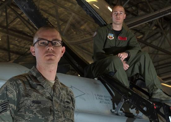Brothers 1st Lt. Sean Rush, right, and Staff Sgt. Brandon Rush are both assigned to the 388th Fighter Wing at Hill Air Force Base, Utah. Sean is a pilot in the 421st Fighter Squadron and Brandon is from the 388th Aircraft Maintenance Squadron. (Courtesy photo)