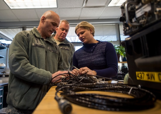 Lt. Gen. Carlton D. Everhart II, 18th Air Force commander, and Elizabeth White inspect a cable looking to be replaced on a C-17 Globemaster III Jan. 8, 2015, in the 437th Maintenance Group at Joint Base Charleston S.C. While visiting JB Charleston, the general toured the 437th Maintenance Group, the 437th Aerial Port Squadron, the 437th Operations Support Squadron and other units across the wing to interact with the Airmen and civilians who work to provide precise, reliable airlift worldwide every day.  White is a member of the 437th Maintenance Group. (U.S. Air Force photo/Senior Airman Jared Trimarchi)