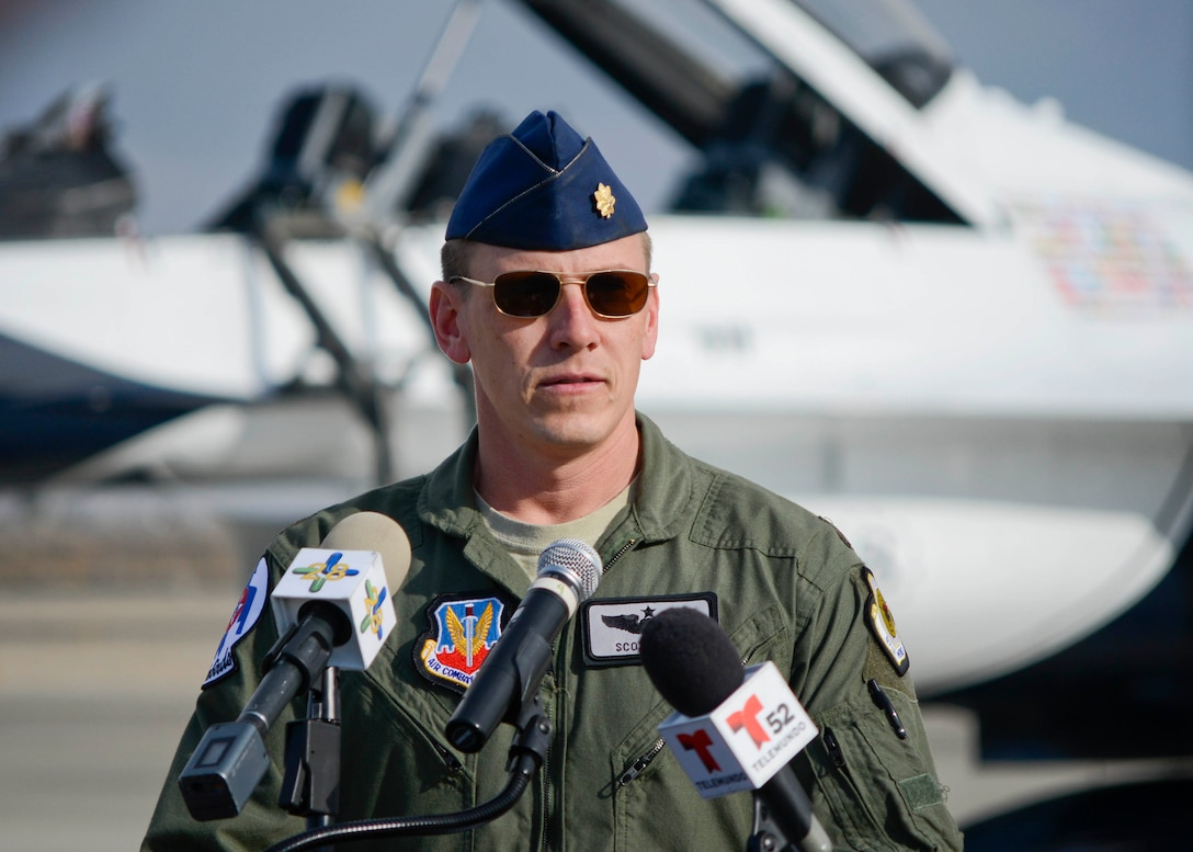 Maj. Scott Petz, pilot of Thunderbird #8, spoke at the William J. Fox Airfield Jan. 9 during a press conference to promote the 2015 Los Angeles County Airshow. The flying unit, officially known as the U.S. Air Force Air Demonstration Squadron, will perform both days of the second annual air show. (U.S. Air Force photo by Rebecca Amber)