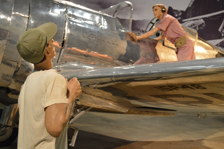 DAYTON, Ohio -- Curtiss P-36A Hawk diorama with a portrayal of Lt. Phillip Rasmussen in the World War II Gallery at the National Museum of the United States Air Force. (U.S. Air Force photo)