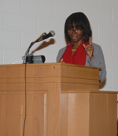 "Speaking from the premise of ""reinvigorating our call to action,"" guest speaker, former Juvenile Court Judge, Karen Baynes-Dunning, addresses a capacity crowd at the installation's 2015 Dr. Martin Luther King Jr. holiday observance, Jan. 13, 2015."