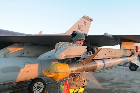 A picture of U.S. Air Force Airman from the New Jersey Air National Guard's 177th Fighter Wing in Egg Harbor Township, N.J., performing maintenance on an F-16 Fighting Falcon's weapons systems.