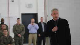 Chuck Hagel, secretary of defense, speaks to Marines and Sailors aboard Marine Corps Air Station Miramar, Calif., Jan. 13. Marines and Sailors also had the opportunity to ask questions, take photos with Hagel and receive coins.