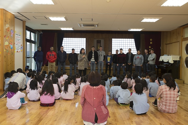 Service members from Marine Corps Air Station Iwakuni, Japan, visited Josho Hoikuen in Iwakuni City during a community relations preschool event hosted by the Marine Memorial Chapel, Jan. 13, 2015. Volunteers visited the school to teach the children English to strengthen the bond between the U.S. and Japan.