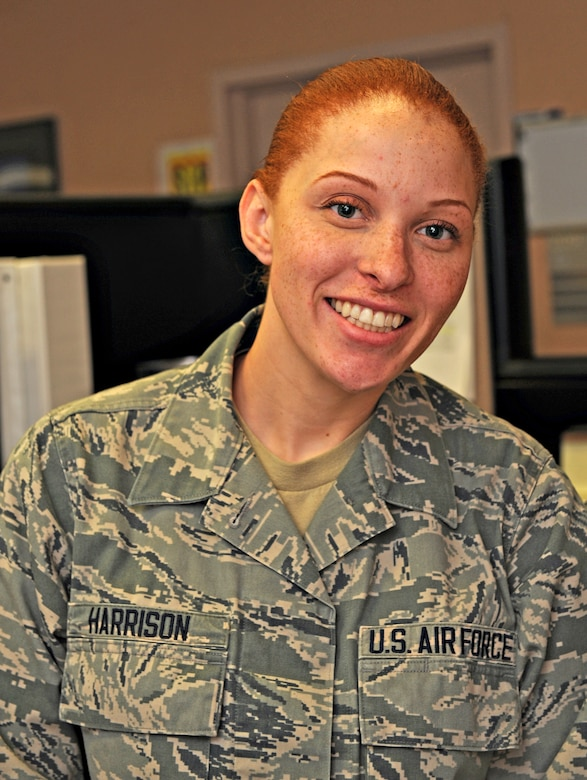 Airman 1st Class Shauna Harrison, 9th Comptroller Squadron special actions technician, poses at her desk at Beale Air Force Base, Calif., Jan. 14, 2015.(U.S. Air Force photo by Airman 1st Class Ramon A. Adelan/Released)