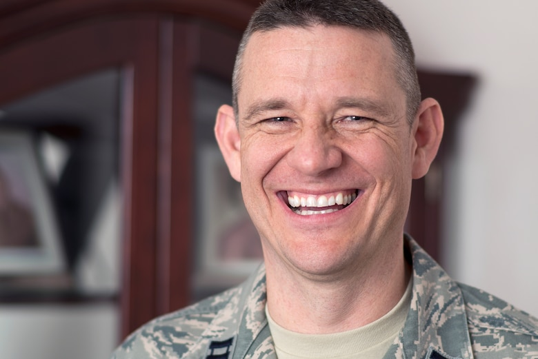 Head Chaplain Capt. Joseph Baker, 137th Air Refueling Wing, aims to encourage people to follow their spiritual identity and not just live by the rules of the Bible. Baker was hired as the full-time Chaplain in July 2014. (U.S. Air National Guard photo by Airman 1st Class Tyler Woodward/Released)