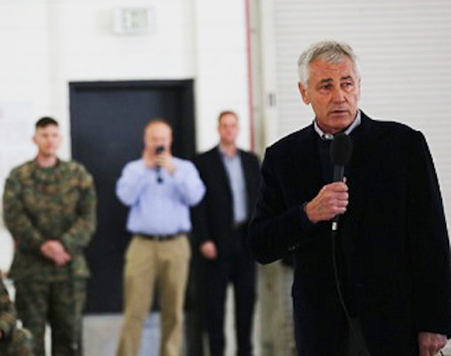 Defense Secretary Chuck Hagel speaks to Marines and sailors aboard Marine Corps Air Station Miramar, Calif., Jan. 13, 2015. U.S. Marine Corps photo by Cpl. Melissa Eschenbrenner