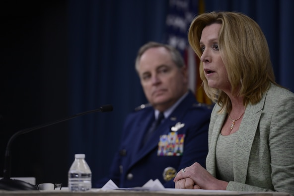 "Air Force Chief of Staff Gen. Mark A. Welsh III and Secretary of the Air Force Deborah Lee James deliver their, ""State of the Air Force,"" press conference Jan. 15, 2015, in Washington, D.C.  In her comments, James said we are the greatest Air Force in the world because of our Airmen.   (U.S. Air Force photo/Scott M. Ash)"