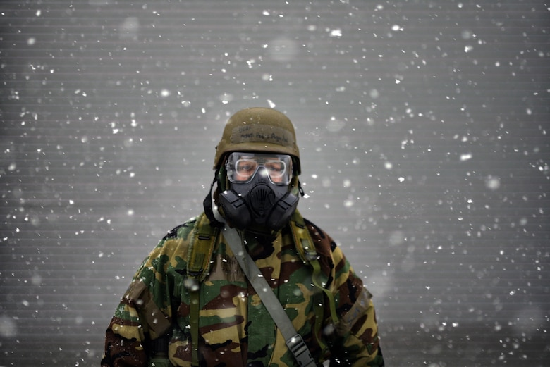 WESTHAMPTON BEACH, NY - Master Sergeant Pedro Aguilar pauses for a portrait during chemical, biological, radiological and nuclear defense training at FS Gabreski ANG Jan. 9th, 2015. 