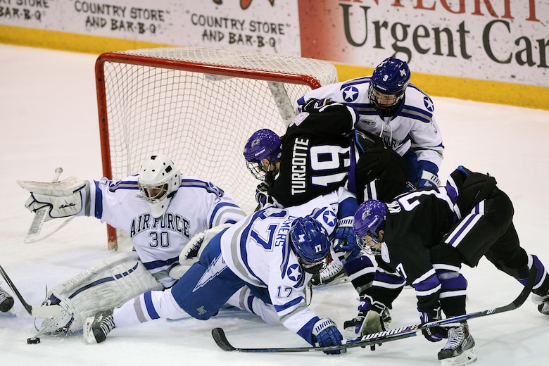 Air Force beat Niagara 4-3 in an overtime win at the Academy's Cadet Ice Arena Jan. 10, 2015. The win was an Atlantic Hockey Conference game. (U.S. Air Force photo/Mike Kaplan)