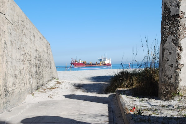 Dredged material from Tampa Harbor maintenance is beneficially used on Egmont Key, which is severely eroding.  The sand placement will help protect cultural resources on the island.