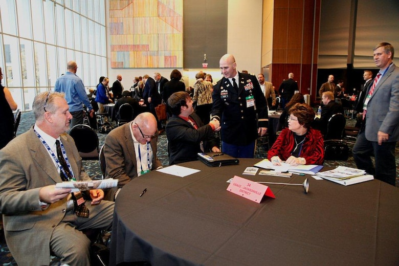 Col. Alan Dodd and Beth Myers spoke one-on-one with small groups at the Society of Military Engineers' 2014 Small Business Conference in Kansas City, Missouri.