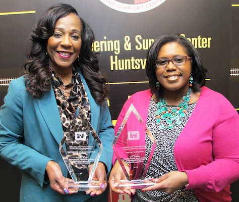 From left, Tonju Butler and Lillian Fox of Huntsville Center's Contracting Directorate recently earned recognition in the 2014 Headquarters, USACE Excellence in Contracting awards.