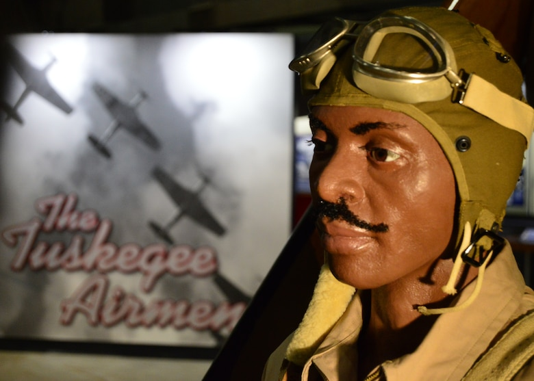 DAYTON, Ohio -- The Tuskegee Airmen diorama depicting a cadet and instructor on display in the WWII Gallery at the National Museum of the U.S. Air Force. (U.S. Air Force photo)