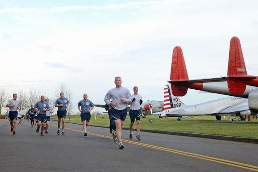 McChord Airmen get reacquainted with their Air Force culture Jan. 9, 2015, along the new route of the Team McChord Run.(Norhtwest Guardian/Senior Airman Jacob Jimenez)