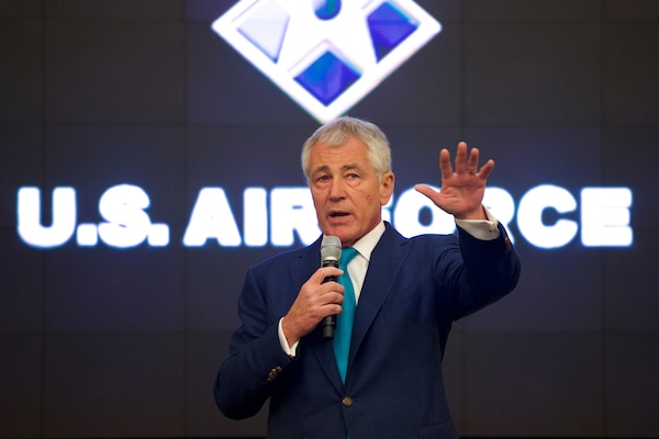 Defense Secretary Chuck Hagel provides closing remarks at the U.S. Air Force Sexual Assault Prevention and Response Summit on Joint Base Andrews, Md., Jan. 16, 2015. DoD photo by Casper Manlangit