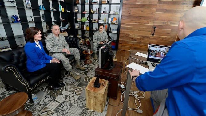 "Air Force Chief of Staff Gen. Mark A. Welsh III and his wife, Betty, host a ""hangout"" with Christopher Fincham at the Google office in Washington, D.C., Jan. 16, 2015.  The Welsh's used the Google+ venue as a means to talk candidly with Airmen from across the globe.  Fincham is an Army sergeant first class who is in a yearlong Training with Industry Program.  (U.S. Air Force photo/Scott M. Ash)"