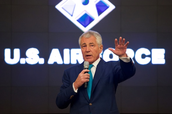 Defense Secretary Chuck Hagel provides closing remarks at the Air Force Sexual Assault Prevention Summit Jan. 16, 2015, on Joint Base Andrews, Md. (Department of Defense photo/ Casper Manlangit)