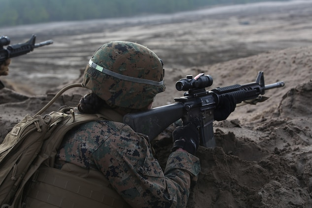 Pfc. Kristin R. Cosby, combat engineer, Engineer Platoon, Headquarters and Service Company, Ground Combat Element Integrated Task Force, provides security during a field training exercise at Engineer Training Area 2 aboard Marine Corps Base Camp Lejeune, North Carolina, Jan. 16, 2015. From October 2014 to July 2015, the GCEITF will conduct individual and collective level skills training in designated ground combat arms occupational specialties in order to facilitate the standards based assessment of the physical performance of Marines in a simulated operating environment performing specific ground combat arms tasks. (U.S. Marine Corps photo by Cpl. Paul S. Martinez/Released)