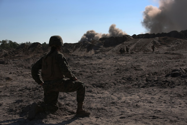 1st Lt. Stephanie Damren, platoon commander, Engineer Platoon, Headquarters and Service Company, Ground Combat Element Integrated Task Force, observes a detonation during a field training exercise at Engineer Training Area 2 aboard Marine Corps Base Camp Lejeune, North Carolina, Jan. 16, 2015. From October 2014 to July 2015, the GCEITF will conduct individual and collective level skills training in designated ground combat arms occupational specialties in order to facilitate the standards based assessment of the physical performance of Marines in a simulated operating environment performing specific ground combat arms tasks. (U.S. Marine Corps photo by Cpl. Paul S. Martinez/Released)