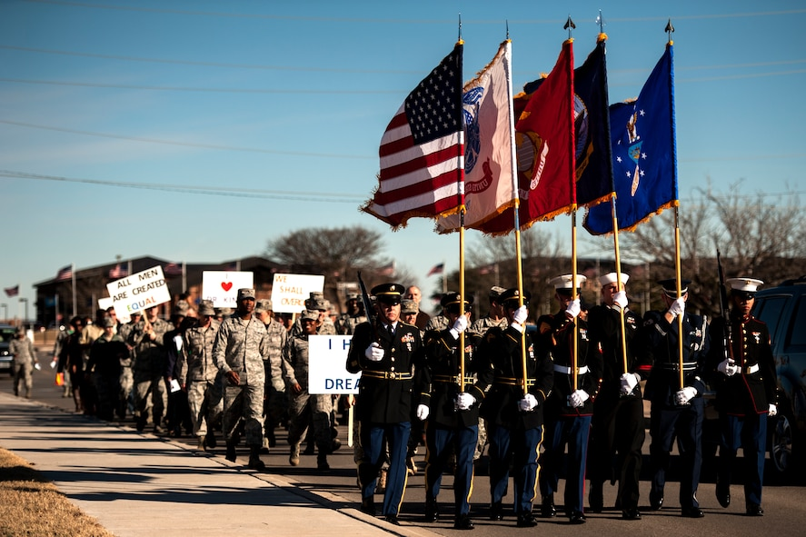 GOODFELLOW AIR FORCE BASE, Texas – Team Goodfellow members participate in The March on Goodfellow Air Force Base, Jan. 16. The march celebrated the legacy of Martin Luther King Jr. (U.S. Air Force photo/ Airman 1st Class Scott Jackson)