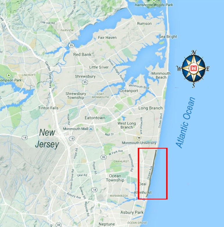 Contract area:  Elberon to Loch Arbour, Monmouth County New Jersey.