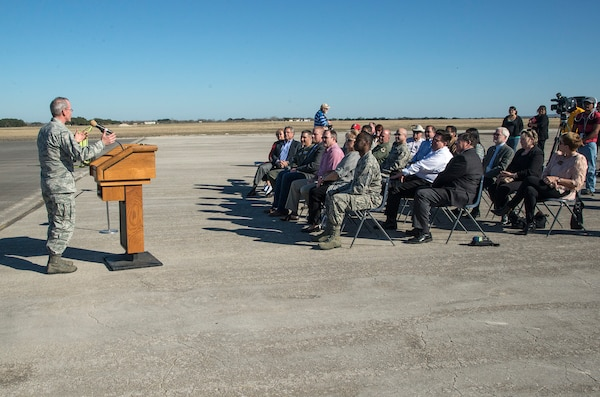 Brig. Gen. Bob LaBrutta, 502nd Air Base Wing and Joint Base San Antonio commander, addresses the crowd during a symbolic ribbon cutting event at Joint Base San Antonio-Randolph Seguin Auxiliary Airfield Jan. 20. The event signified the reopening of the airfield following a $12.4 million repaving and construction project that included replacing and grading the entire airfield, stabilizing existing soils, and constructing a new taxiway, parking apron and emergency access road.  (U.S. Air Force photo by Johnny Saldivar)