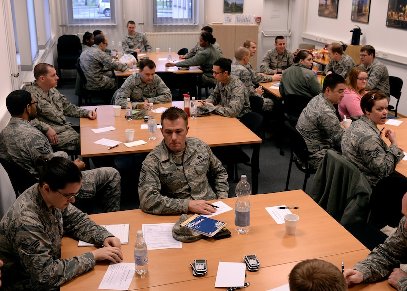Participants of the Healthy Relationships Series interview each other in the 52nd Force Support Squadron Airman and Family Readiness Center at Spangdahlem Air Base, Germany, Jan. 14, 2015. The interviews were part of the Four Lenses assessment, a course that recognizes each individual's personality traits. The community readiness specialists at the A&FRC offer similar classes once a month designed to strengthen relationships of any kind: between coworkers, supervisors and subordinates, or husband and wife. (U.S. Air Force photo by Staff Sgt. Daryl Knee/Released)
